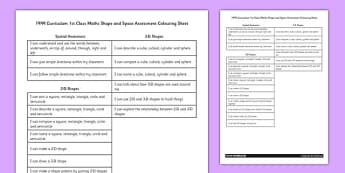 1999 Curriculum 1st Class Maths Shape and Space Assessment Targets Colouring Sheet - roi, irish, republic of ireland