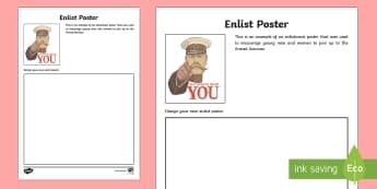Enlist Poster Activity Sheet - New Zealand, Anzac Day, 25 April, ANZAC, Poppies, World War 1, World War 2, Gallipoli, worksheet
