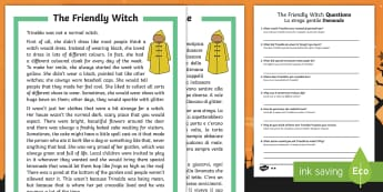 The Friendly Witch Differentiated Reading Comprehension Activity English/Italian - Halloween, october, festival, autumn, celebration, spooky, ghosts, witch, zombies, EAL