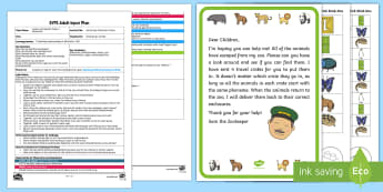 EYFS Zoo Escape Alliteration Chaos Adult Input Plan and Resource Pack - EYFS Phase 1 Aspect 5: Alliteration, letters and sounds, phonics, zoo, animals, connecting bricks, m