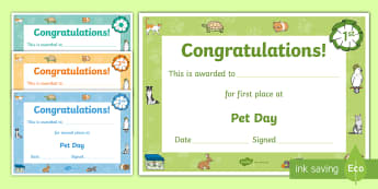 Domestic Animals Style Pet Day Certificates - New Zealand, Pet Day, Farm Safety, Pet Show, certificates, winner, place-getters