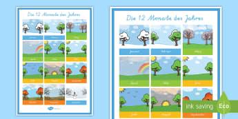 Die 12 Monate des Jahres Poster für die Klassenraumgestaltung - Monat, Monate, Jahreszeiten, Monate Poster, Gestaltung, den Klassenraum gestalten,German