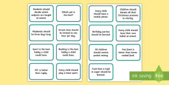 Persuasive Text Topic Discussion Cards - Opinion, point of view, persuasive writing, NAPLAN, English curriculum, Australia