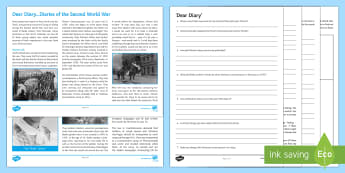 Diarists of the Second World War Differentiated Reading Comprehension Activity - Comprehensions KS3/4 English, reading, KS 3, history, world war II, second world war, 1939 - 1945, J