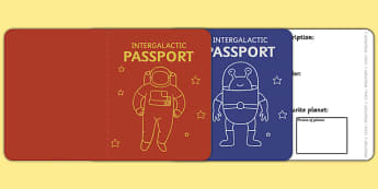 Space Passport Template - Passport, space, intergalactic, Design, holiday, holidays, travel, passport design, fine motor skills, card template, space, ship, rocket, alien, launch, foundation stage, topic, moon, stars, planet, planets