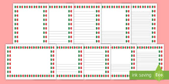 Mexican Flag Page Border Pack - Mexico, Tocuaro, Mexican Flag, History, Social Studies, Geography, Writing, Cross Curricular, North America