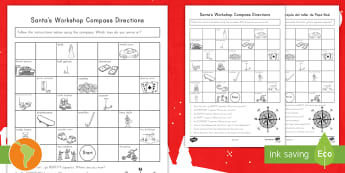 Christmas Compass Activity US English/Spanish (Latin) - Christmas, christmas maths, compass directions, north, east , south, west, esl, eal