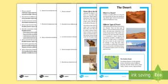 The Arabian Desert Differentiated Reading Comprehension Activity - Science: Living World, desert, Arabian, UAE, reading, comprehension, differentiated.