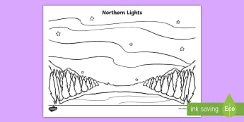 Northern Lights Colouring Page - Earth Day, Canada, Natural Wonders of the World, Northern Lights, Aurora Borealis, North, Arctic, Gr