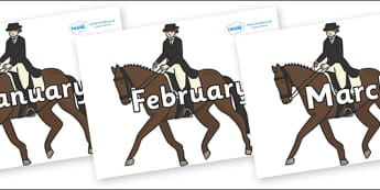 Months of the Year on Equestrian (Horses) - Months of the Year, Months poster, Months display, display, poster, frieze, Months, month, January, February, March, April, May, June, July, August, September