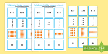 2, 5 and 10 Times Table Multiplication Matching Cards English/Spanish - multiplication, matching, puzzle,mulitplication,multipication,multiplicaion,muliplication, multiplac