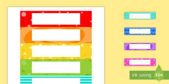Editable Multicolored Tray Labels - tray, labels, multicolored, editable, cut outs