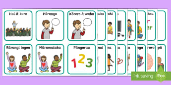 Visual Timetable Flashcards Te Reo Māori  - New Zealand Back to School, te reo maori, daily routine, visual timetable