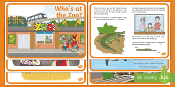 Exploring My World - Who's at the Zoo? Story - aistear, story, animals, zoo keeper, elephant, tiger, monkey, penguin,Irish