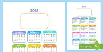 Editable 2018 Year to a Page Calendar - Editable 2017 Calendar - editable, 2018, calendar, 2018 calendar,calandar,calender2018,claendars,cal