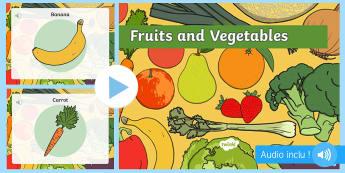 PowerPoint : PowerPoint avec audio : Les fruits et légumes - Anglais LV