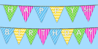 Happy 5th Birthday Bunting - 5th birthday party, 5th birthday, birthday party,