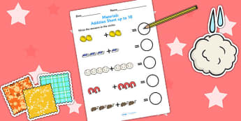Materials Addition to 10 Worksheet - materials, add, adding