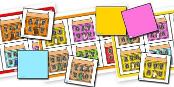 Houses and Homes Colour Bingo Houses - houses and homes, houses, homes, colours, bingo, houses bingo, colour bingo, bingo games, classroom games, games