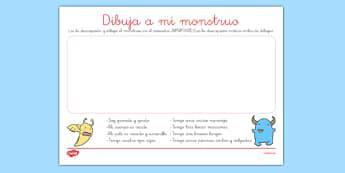 Ficha - Dibuja a mi monstruo - comprensión lectora, dibujar, descripción, mi cuerpo