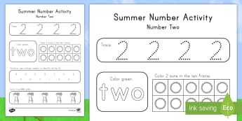 Summer Number Two Activity Sheet - Summer, summer season, first day of summer, summer vacation, summertime, number recognition, number