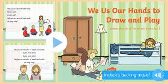 We Use Our Hands to Draw and Play Song PowerPoint