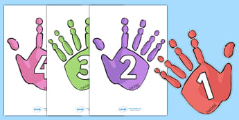Numbers 0-30 on Handprints - Handprint, Foundation Numeracy, Number recognition, Number flashcards, 0-30, A4, display, ourselves, foot, hand, my body