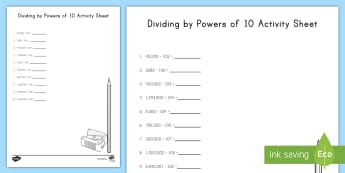 Dividing by Powers of 10 Activity Sheet - exponents, division, powers of ten, dividing by ten, 5th grade, worksheet, problems, 5.nbt