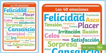 Póster DIN A4: Las 40 emociones - emociones, educación emocional, inteligencia emocional, problemas de comportamiento, autoestima, au