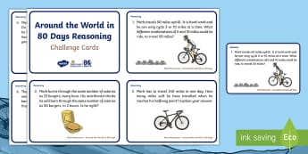 KS1 Around the World in 80 Days Reasoning Maths Challenge Cards - Mark Beaumont, cycle, cycling, bike, bicycle, challenge, adventure, goal, target, setting, World Rec
