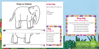 Colour Mixing Elephant Busy Bag Prompt Card and Resource Pack - Elmer, David McKee, colour, wilbur, colour mixing, secondary colours, patchwork, elephant