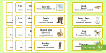 Canada's First Nations Language in Nunavut Inuktitut Word Cards - Winter Resources, Nunavut, Languages, Inuktitut, canada's first nations