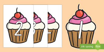 0-100 on Cupcakes Display Numbers - New Zealand, maths, cupcakes, numbers to 100, 0-100, Years 1-3, display, flashcards, number recognit