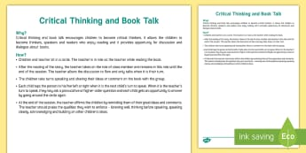Critical Thinking and Book Talk Lesson Ideas - New, Language, Curriculum, Ireland, Oral, Primary, Teaching