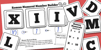 Roman Numerals Number Building Game - roman numerals, romans, number building games, number games, building games, number building, roman games, games