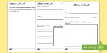 Mein Urlaub Mini-Buch - Meine Ferien, Sommerferien, Urlaub, mein Urlaub, Ferien Buch, Ferien Büchlein,German