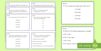 2D Shapes Challenge Cards  - shapes, geometry, third grade, common core, quadrilaterals, triangles, hexagon, octagon, square, rec
