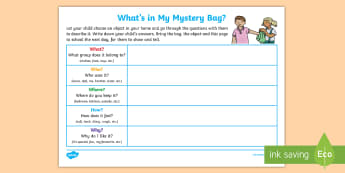 Mystery Bag Home Learning Task - EYLF, Literacy, Oral language, mystery bag, news, show and tell, speaking and listening,Australia