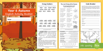 Year 6 Autumn English Activity Booklet - holiday booklet, homework booklet, y6, spag, writing activity, reading activity