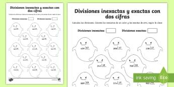 Ficha de actividad: Colorear por divisiones inexactas y exactas con dos cifras - fantasmas - dividir, división, repartir, cifras, divide, division, sharing, figures, digits, escrito, escrita,