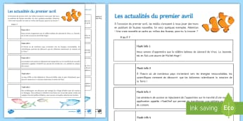 April Fools' Day News Activity Sheet French - Poisson d'avril, April Fools Day, April Fool's Day, 1st April, 1er avril, worksheet, premier avril