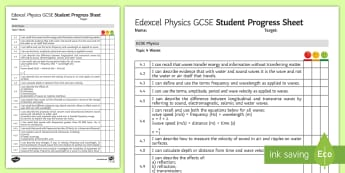 Edexcel Style GCSE Physics, Waves Progress Sheet - frequency, amplitude, speed , velocity, refraction