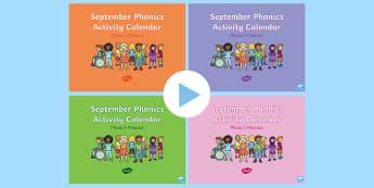 September Phonics Activity Calendar PowerPoint Pack - Reading, Spelling, Game, Starter, Sounds