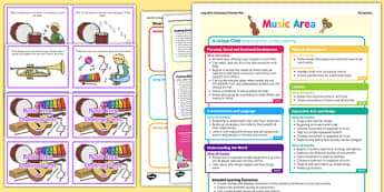 Music Area Continuous Provision Plan Poster and Challenge Cards Pack Nursery FS1 - continuous, pack, music