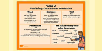 Year 2 Vocabulary, Grammar and Punctuation Word Mat - word mat