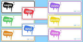 Editable Drawer - Peg - Name Labels (Spanish Colours) - Resource Labels, Spainish, Name Labels, Editable Labels, Drawer Labels, Coat Peg Labels, Peg Label, KS1 Labels, Foundation Labels, Foundation Stage Labels, Teaching Labels, Resource Labels, Tray