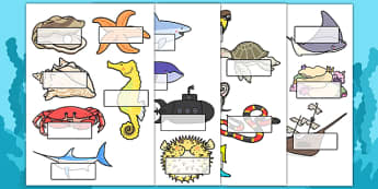Under the Sea Self Registration Labels - french, under the sea, self-reg, self-registration, labels