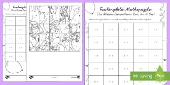 Das Kleine Einmaleins Faschingspuzzle (7er, 8er, 9er) Aktivität - Karneval, Fasching, Fastnacht, Puzzle, Mathepuzzle, Bildpuzzle, Anmalbilder, Das Kleine Einmaleins,