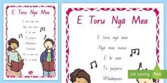 E Toru Ngā Mea A4 Display Poster - Maori language, waiata, te reo maori, te wiki o te reo maori, maori language