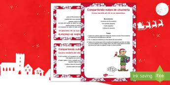 Escena matemática con el elfo navideño: Compartiendo nubes de chuchería - numeros, problemas matemáticos, navidad, navideño, Spanish